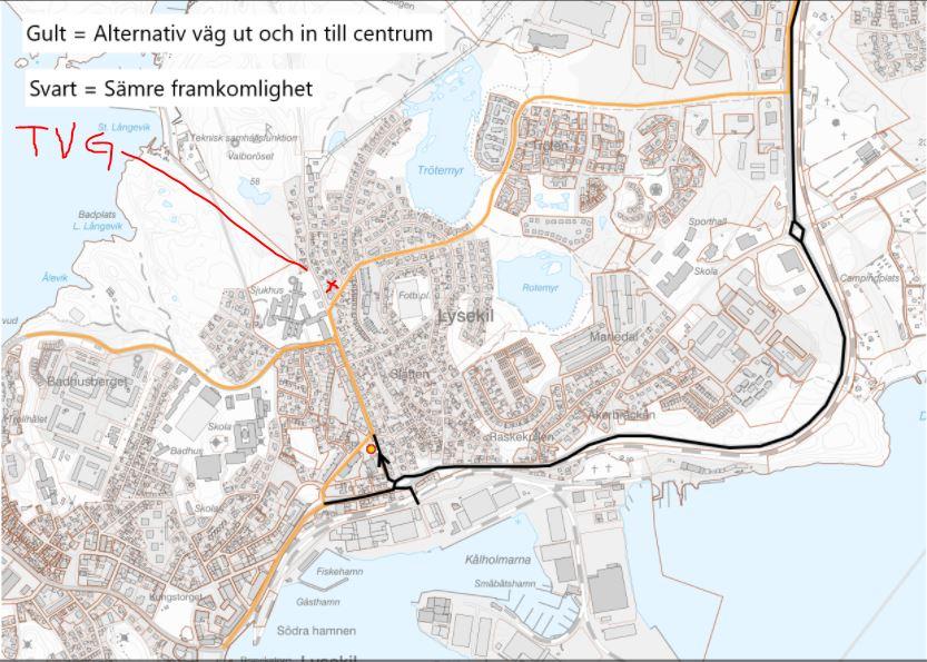 Vägkarta trafikomläggning Lysekil
